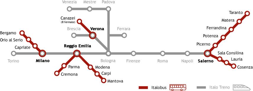 La nuova mappa dei collegamenti integrati Italobus